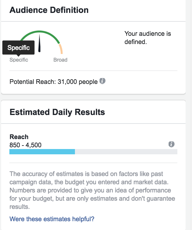 ideal audience size of facebook ad set