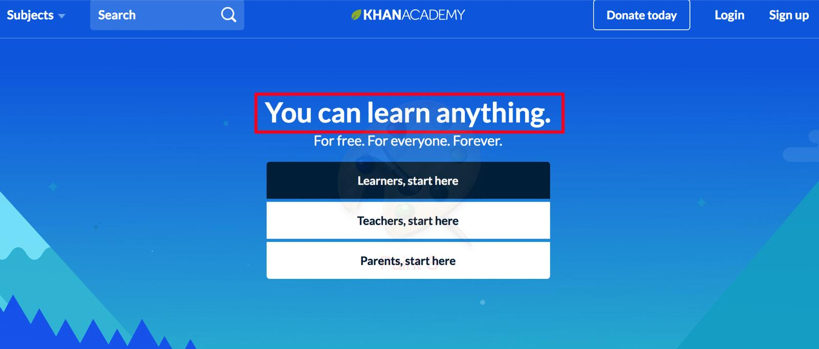 khan academy homepage headline