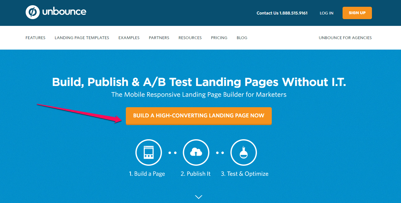 unbounce above fold