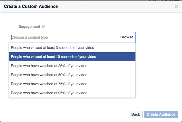 create a custom audience for facebook video ads