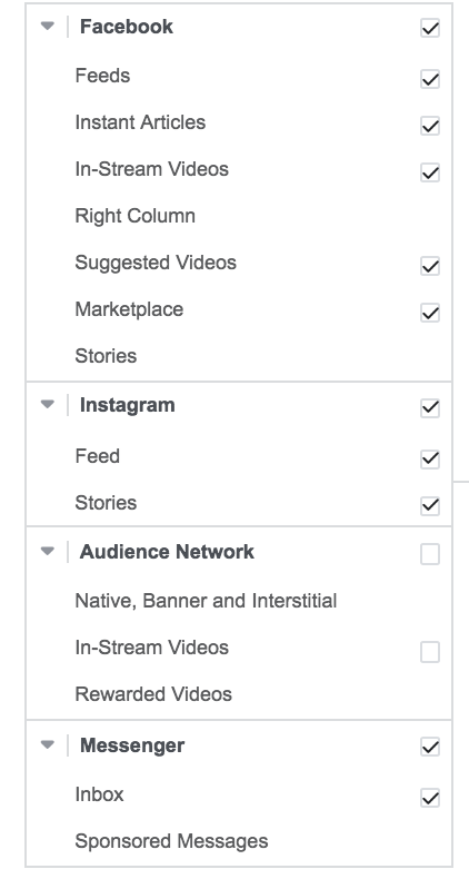 facebook placement segments