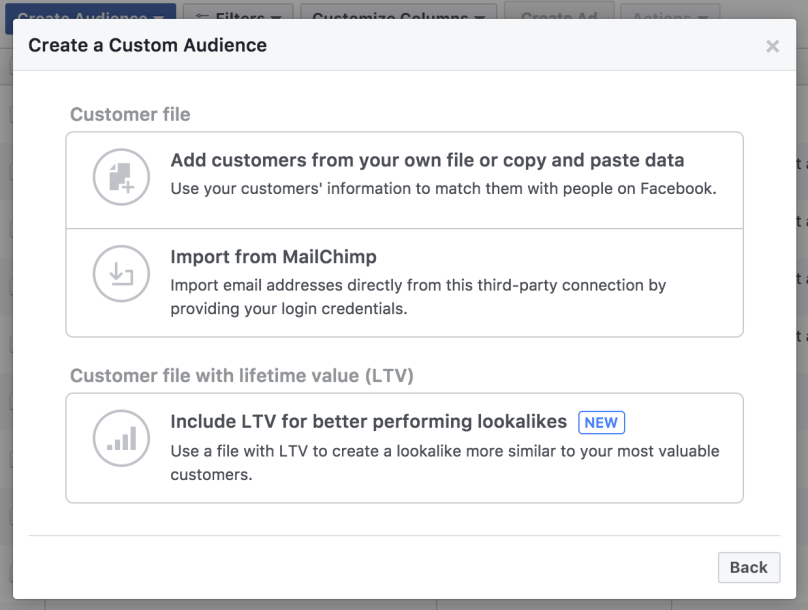 customer files emails custom audiences facebook