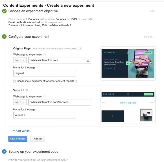 experiments for google analytics