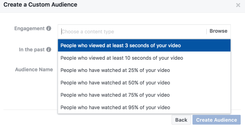 facebook retargeting based on video view percentage