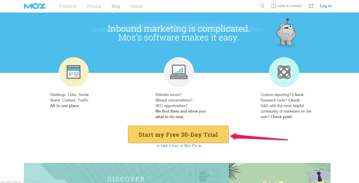 free trial - moz example