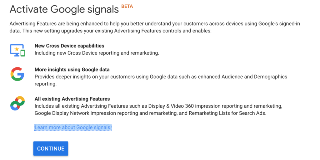 google signals google analytics activation