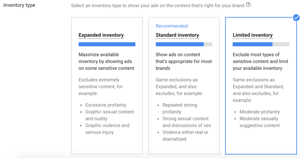 inventory type youtube campaigns