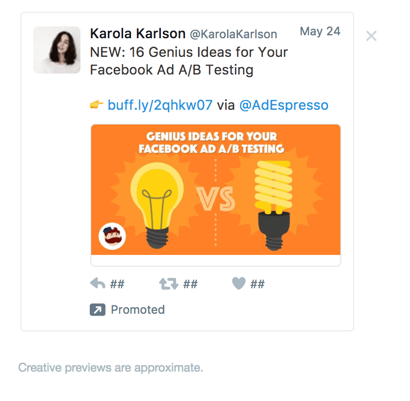 promoted tweet example ad espresso
