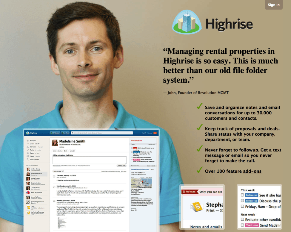 highrise testimonial copy example