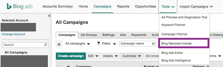 Merchant-Center create within Bing Ads