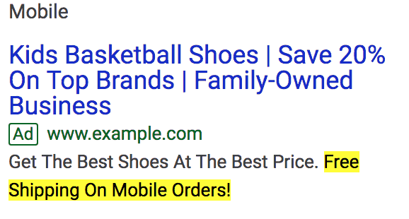Mobile ad customizer example