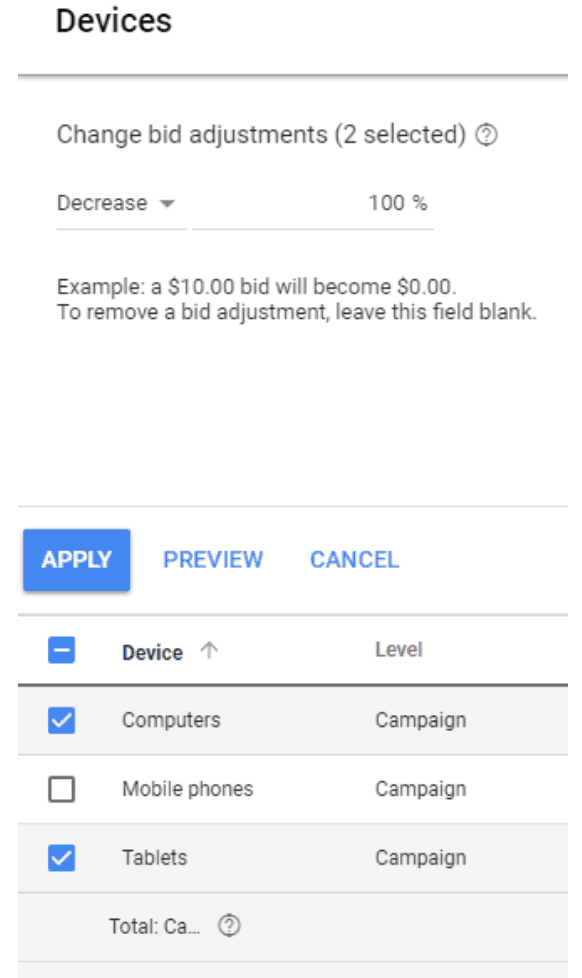 mobile bid adjustment to create defacto mobile only campaign ad espresso