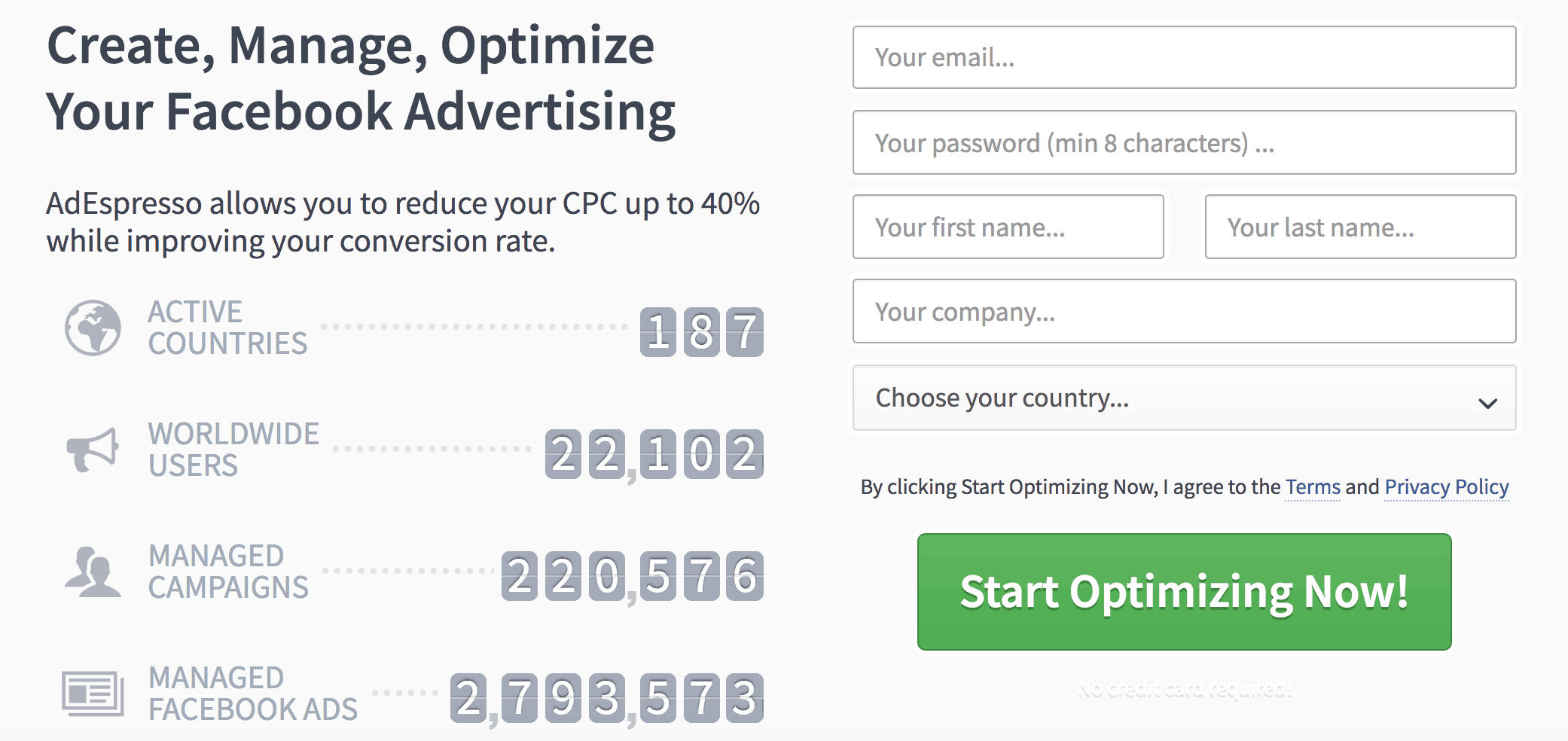 value of numbers in landing page copy ad espresso