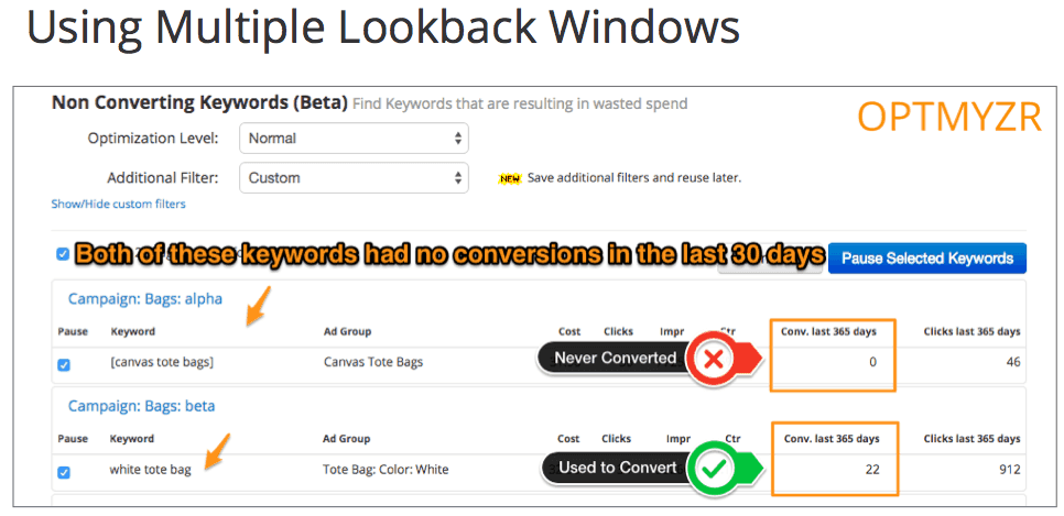 using multiple lookback windows