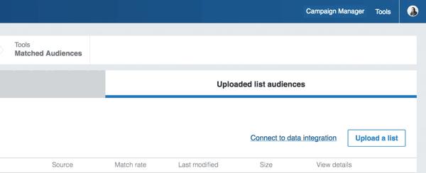 linkedin matched audience upload list prompt